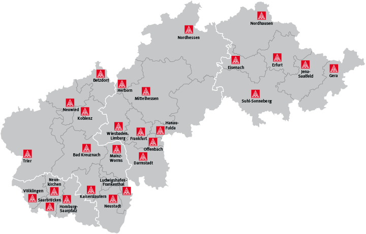 Nordhausen Karte.Geschäftsstellen Im Bezirk Ig Metall Nordhausen